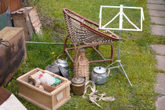 Unwanted Items In Backyard. Various unwanted items spread out in a backyard, outdoor image Stock Photography
