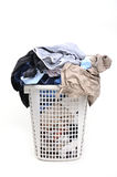 Unwashed cloth in basket Stock Images