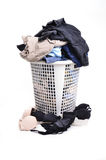 Unwashed cloth in basket Stock Photo