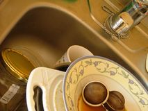 Unwashed dishes. In the sink Royalty Free Stock Images