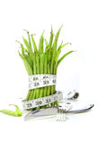 Unwashed green beans with cord and utensils Stock Photos