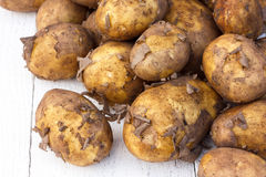 Unwashed new potatoes on white rustic wood. Space for text. Stock Photo