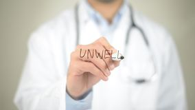 Unwell, Doctor writing on transparent screen. High quality Stock Photography