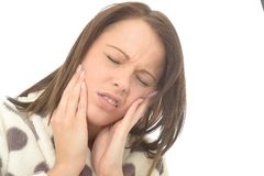 Unwell Sick Tired Young Woman With A Painful Toothache Royalty Free Stock Image