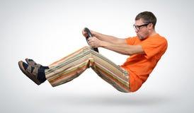 Unwirklicher lustiger Autotreiber, Selbstkonzept Lizenzfreie Stockfotografie