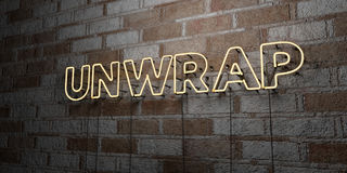 UNWRAP - Glowing Neon Sign on stonework wall - 3D rendered royalty free stock illustration. Can be used for online banner ads and direct mailers Stock Photos