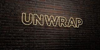 UNWRAP -Realistic Neon Sign on Brick Wall background - 3D rendered royalty free stock image. Can be used for online banner ads and direct mailers Stock Photo