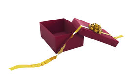 Unwraped red gift box with golden ribbon. 3D illustration Stock Images