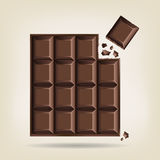 Unwrapped bar of chocolate. With one corner square broken off with crumbs,  illustration Stock Photos