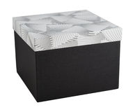 Unwrapped gift box decor paper closed present isolated Royalty Free Stock Image