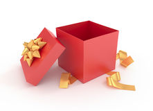 Unwrapped gift box. Unpacked luxury gift box - 3D rendered image Royalty Free Stock Images