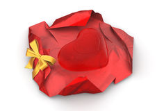 Unwrapped love candy isolated. Love, valentine day series; 3d isolated objects Royalty Free Stock Photo