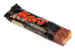Unwrapped Mars candy chocolate bar Royalty Free Stock Photos