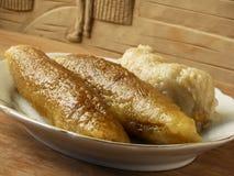 Unwrapped steamed zongzi rice dumplings Royalty Free Stock Photo