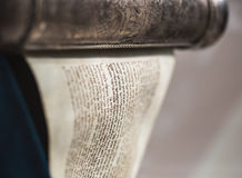 Unwrapped Torah scroll silver Stock Image