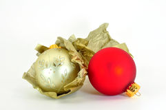 Unwrapping baubles Stock Image