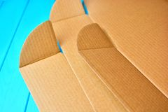 Unwrapping cardboard package background. royalty free stock images