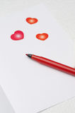 Unwritten love letter, selective focus on pen Stock Images