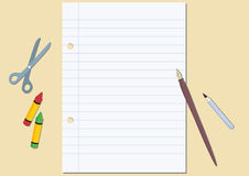 Unwritten page paper. Blank paper with tools. Vector illustration page paper Stock Photo