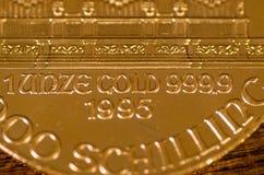 1 Unze-Gold 9999 1995 (Wörter) auf österreichischer philharmonischer Goldmünze Stockbild