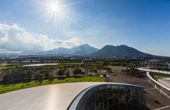 Unzen volcano mountain from distance. Royalty Free Stock Images