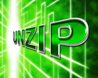 Unzip File Means Files Zipper And Folders. File Unzip Representing Files Folder And Correspondence Stock Images