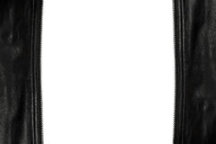 Unzip leather frame isolated on white background.  Royalty Free Stock Photos