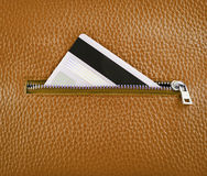 Unzip leather wallet with card. Unzip leather wallet with credit card Royalty Free Stock Images