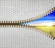 Unzip the nature. Conceptual image with opening zipper and blue sky and field Royalty Free Stock Photography