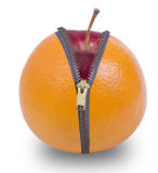 Unzip orange  fruit. Show red apple inside with white background Royalty Free Stock Image