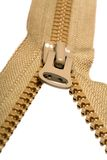 Unzipped brown zipper Royalty Free Stock Image