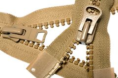 Unzipped brown zipper Royalty Free Stock Images