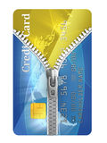 Unzipped credit card Royalty Free Stock Photography