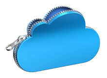 Unzipped 3d cloud icon  on white background Royalty Free Stock Image