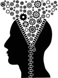 Unzipped human head with cogs Royalty Free Stock Images
