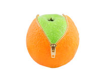 Unzipped orange with green apple. Inside isolated Royalty Free Stock Image