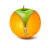 Unzipped orange with green apple. Stock Photography