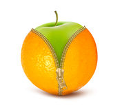 Unzipped orange with green apple. Fruit and diet Stock Photography