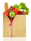 Unzipped shopping bag filled. With groceries Royalty Free Stock Photo