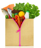 Unzipped shopping bag filled Stock Photography