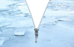 Unzipped winter icy background Royalty Free Stock Image