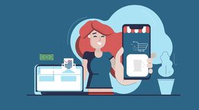 Online shoping and marketing royalty free illustration