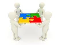 uomini 3d che tengono le parti montate di puzzle di puzzle Immagini Stock Libere da Diritti