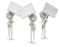 uomini 3D e schede in bianco Immagini Stock Libere da Diritti