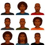 Uomini afroamericani con la varia acconciatura Fotografie Stock Libere da Diritti
