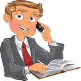 Uomini biondi con il telefono ed il libro Immagini Stock Libere da Diritti