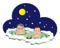 Uomini che bagnano in sorgenti di acqua calda Immagine Stock