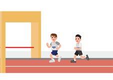 uomini che corrono dentro al traguardo royalty illustrazione gratis