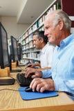 Uomini che lavorano ai computer in biblioteca Immagine Stock Libera da Diritti
