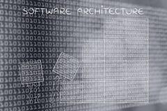 Uomini che sollevano i blocchi di codice binario, architettura di software Immagini Stock Libere da Diritti